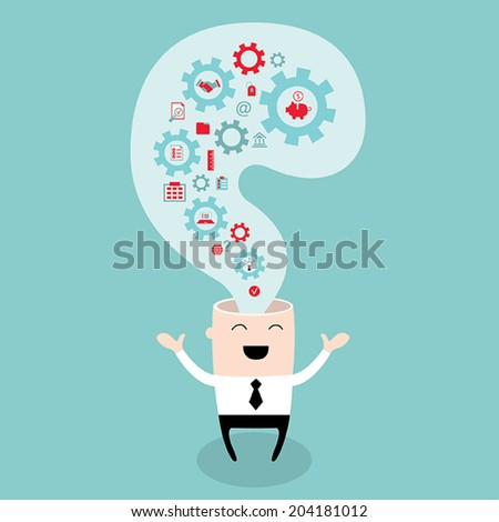 Businessman head with the gears, thoughts and ideas. Brain storming, successful business idea concept. Vector illustration - stock vector
