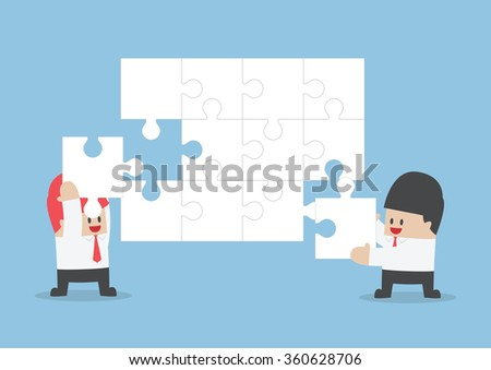 Businessman help each other to assemble blank jigsaw, VECTOR, EPS10
