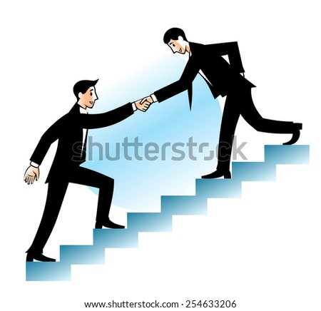 Businessman helps his partner to go up.