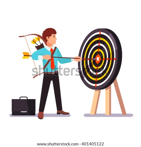 Businessman hitting target holding big arrow in hands. Uncompromising achievement. Flat style vector illustration. - stock vector