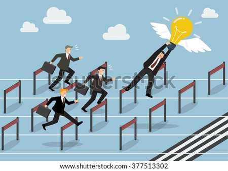 Businessman hold an idea is the winner in race competition. Business concept - stock vector