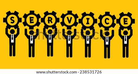businessman hold gear service : business concept on yellow background - stock vector