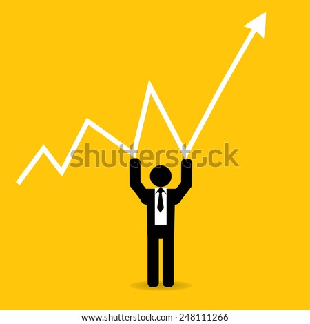 businessman hold graph up to high : business concept on yellow background