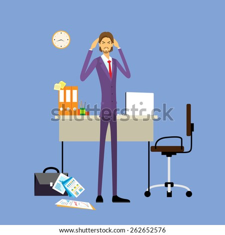 Businessman hold hands on temples head, business man concept of stressed, headache flat vector illustration - stock vector