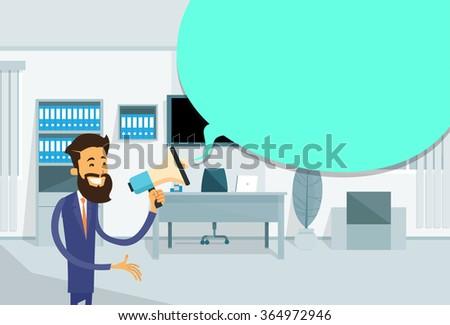 Businessman Hold Megaphone Chat Bubble Copy Space Business Man Office Loudspeaker Flat Vector Illustration - stock vector