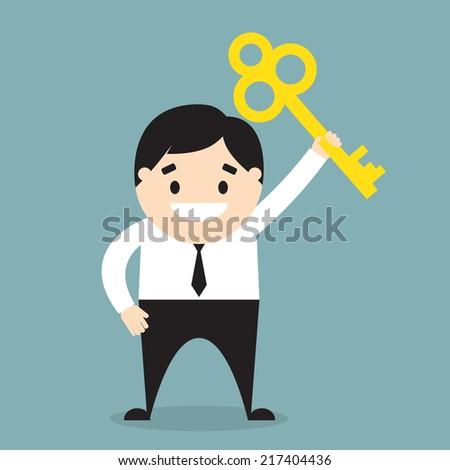 Businessman holding a golden key. Flat design. Vector illustration - stock vector