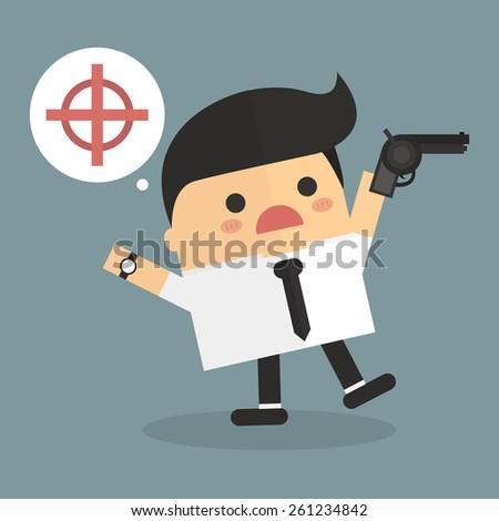 Businessman holding a gun. - stock vector