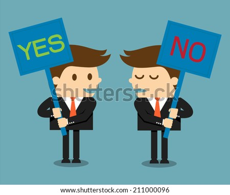 Businessman holding a signboard with the word yes or no written in it - stock vector