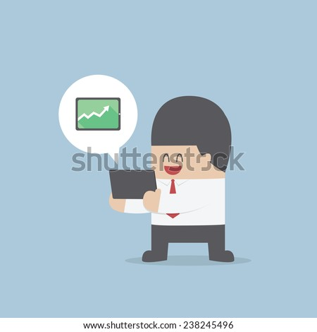 Businessman holding a tablet with growing graph, VECTOR, EPS10 - stock vector