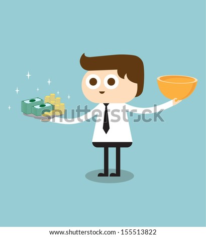 Businessman holding a tray with money - stock vector
