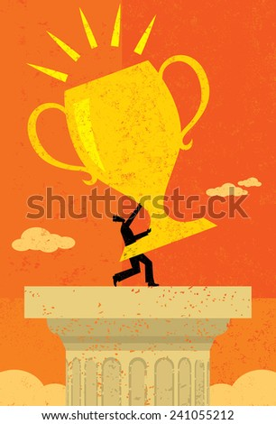 Businessman holding a trophy  - stock vector