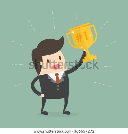 Businessman Holding a Trophy. Business Concept Cartoon Illustration.