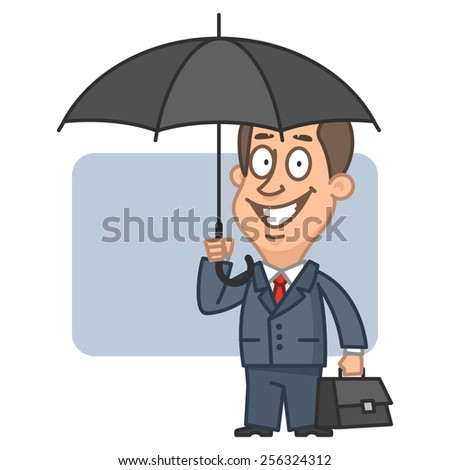 Businessman holding an umbrella and suitcase - stock vector