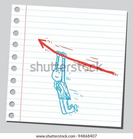 Businessman holding arrow - stock vector