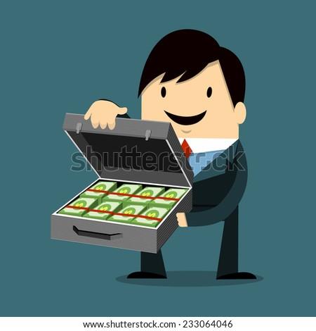 Businessman Holding bag Money - stock vector