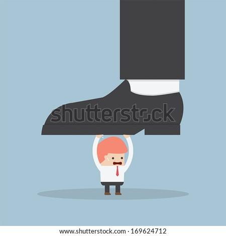 Businessman holding big businessman foot, VECTOR, EPS10 - stock vector