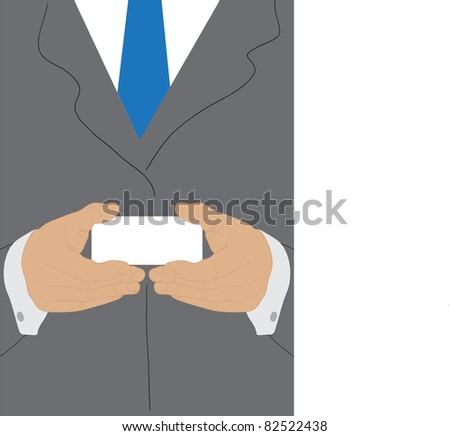 Businessman holding blank business card with both hands - stock vector