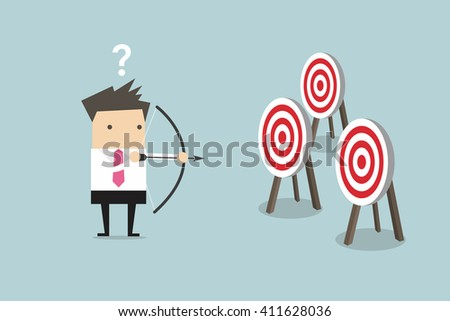 Businessman holding bow and arrow confused by multiple bulls eye target vector - stock vector