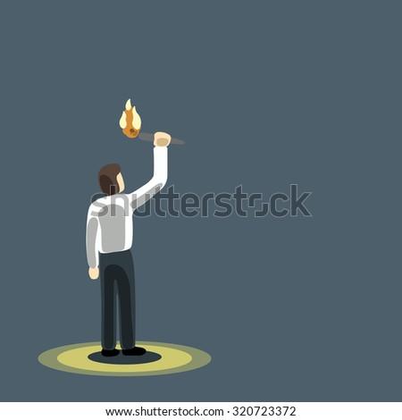 businessman holding burning torch in dark background eps10. - stock vector