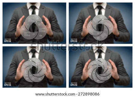 Businessman holding elements of infographics. Circle line infographic. Business concept with 3, 4, 5, 6 options, parts, steps or processes. Linear graphic. Blur vector background - stock vector