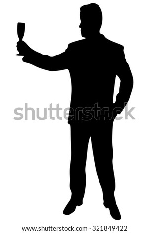 businessman holding glass of champagne