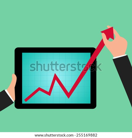 Businessman holding graph to growing up from tablet screen. vector Illustration - stock vector