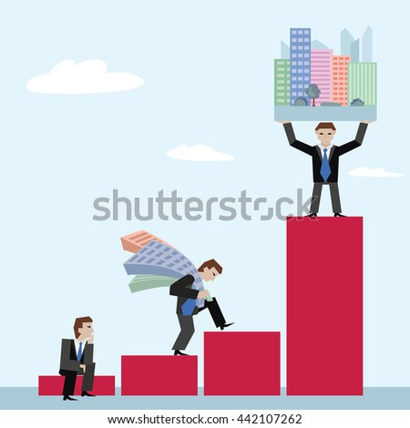 Businessman holding houses. Business concept the real estate market with chart. Vector illustration of businessman with houses standing on chart, on sky background. - stock vector