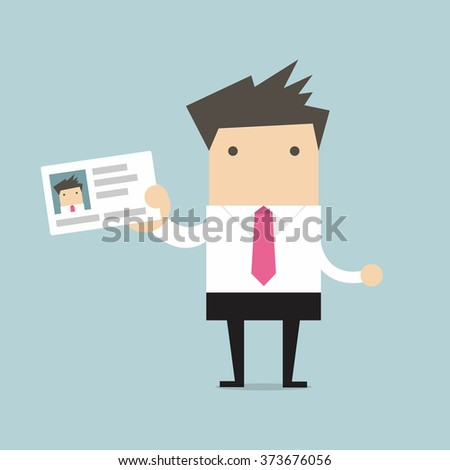 Businessman holding id card in flat style - stock vector