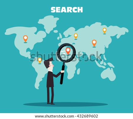 Businessman holding magnifying glass over world map. International collaboration, finding professional employees, new business start-up and business travel vector concept. Modern design illustration - stock vector