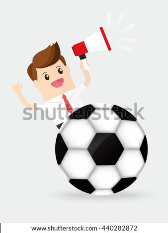 businessman holding megaphone cheering soccer or football sport - stock vector