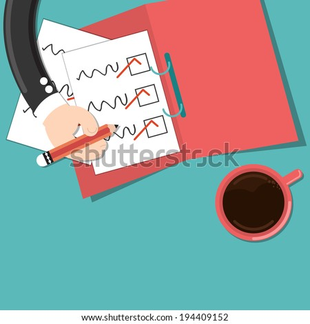 Businessman holding pencil check marks document - stock vector