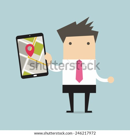 Businessman holding tablet computer with navigation map and pin pointer on the screen - stock vector