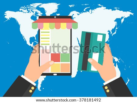 Businessman holding tablet smart phone and credit card for online shopping on world map background. Vector illustration mobile payment e-commerce concept. - stock vector