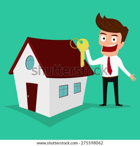 Businessman holding the key of a new home. Real estate concept. Cartoon Vector Illustration - stock vector
