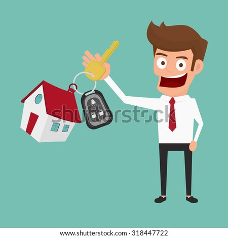 Businessman holding the key ring. Real estate concept. Cartoon Vector Illustration - stock vector