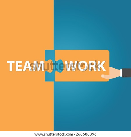 businessman holding two matching puzzle pieces with the word - Teamwork, vector illustration - stock vector