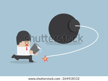 Businessman holding water bucket and trying to stop the bomb, VECTOR, EPS10 - stock vector