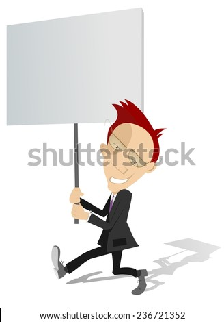 Businessman holds a banner in his hands  - stock vector