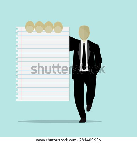 Businessman holds paper. Vector. - stock vector
