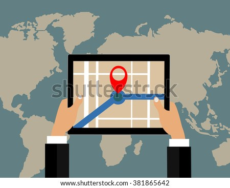 Businessman holds tablet and world map with location pointer. vector  design. - stock vector
