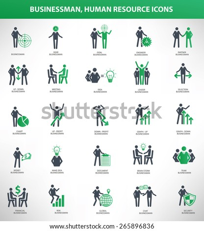 Businessman, Human resource icon set, green version, clean vector