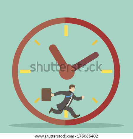 businessman hurry within specified time limits concept illustration  - stock vector
