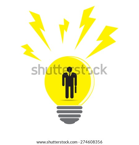 Businessman icon in light bulb, business idea concept. Vector EPS 10. - stock vector