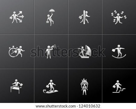 Businessman icon in various activities in metallic style