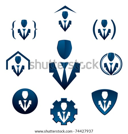 Businessman icons for corporate promotional materials.