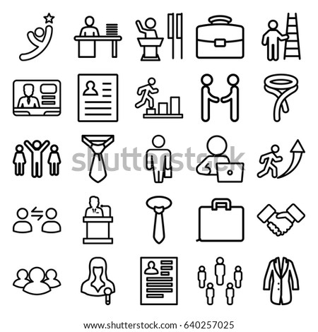businessman icons set set 25 businessman stock vector 640257025
