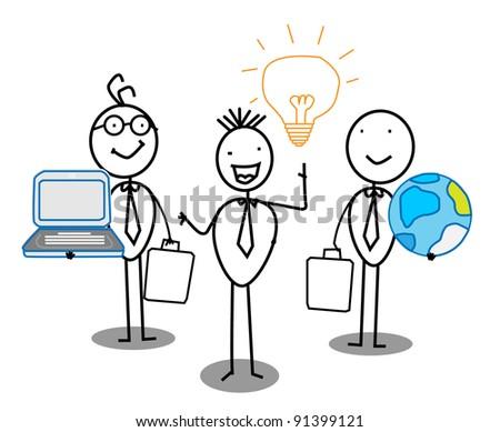 Businessman Idea Team work with world & Connection - stock vector