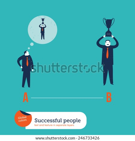 Businessman imagining winning a trophy and actually winning it. Vector illustration Eps10 file. Global colors. Text and Texture in separate layers. - stock vector