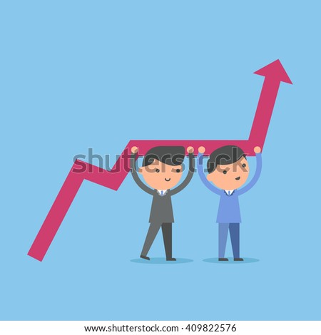 Businessman improve achievement graph. Business concept illustration.
