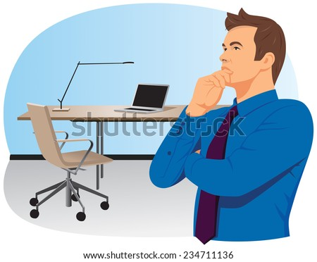Businessman in a blue shirt at office is thinking solution - stock vector